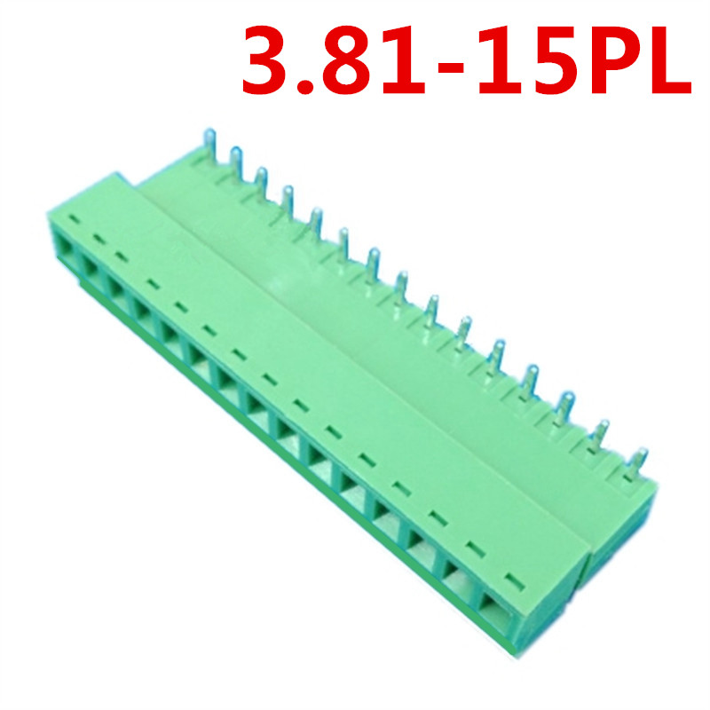 10sets 15 Pin 3.81MM spacing 300V Universal Right Angle Pin Plug Type Green Screw Terminal Block Connector Pin header and socket
