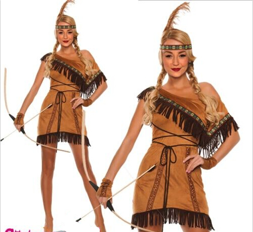f81d28e396a FREE PP Pocahontas indian squaw cowgirl princess fancy dress costume plus  size S 4XL on Aliexpress.com