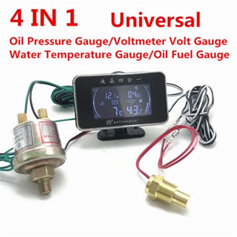 4 In 1 Oil Pressure Gauge Voltmeter Temperature Gauge Meter with Pressure Sensor CLH@8 цена