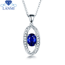 Special Design Blue Sapphire Pendant Necklace Real 14K White Gold Shinning Diamond Wholesale Fine Jewelry for Women