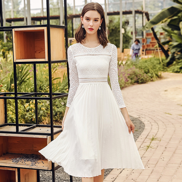 aa91f527d82d European 2018 autumn new women elegant white o neck hollow out lace dress  ladies fashion middle long slim dress