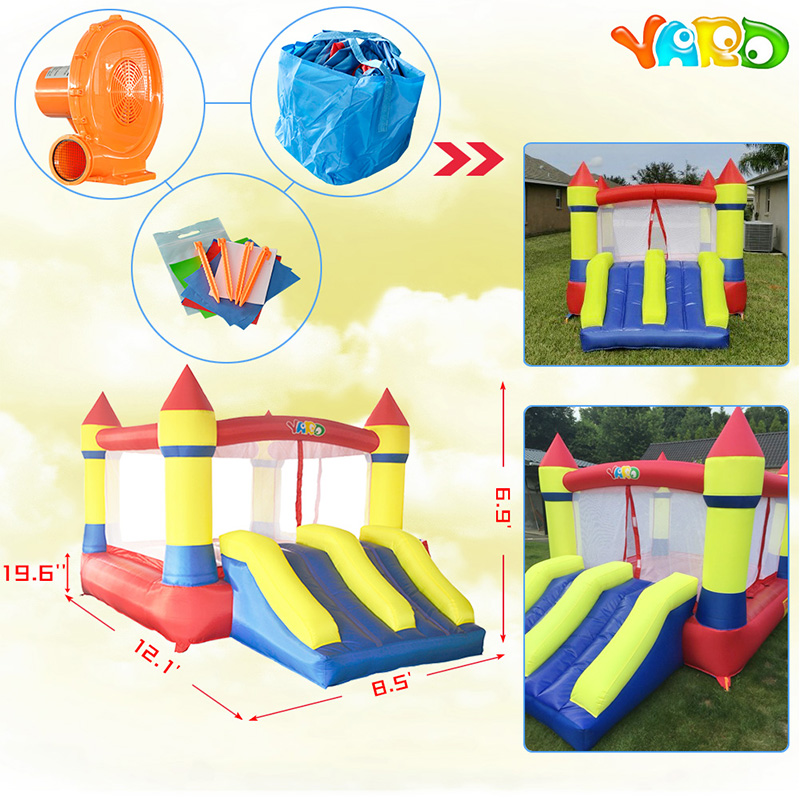 YARD Dual Slide Inflatable Jumping Castle Bouncy Castle Inflatable Bouncers with Blower Inflatable Castle for Kids children shark blue inflatable water slide with blower for pool