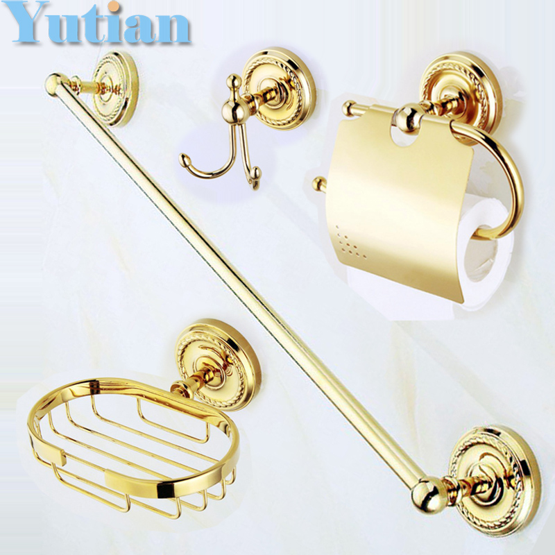 Free shipping,solid brass Gold Bathroom Accessories Set,Robe hook,Paper Holder,Towel Bar,soap basket,bathroom sets,YT-12200-B free shipping solid brass bathroom accessories set paper holder toilet brush holder bathroom sets antique brassyt 12200 2