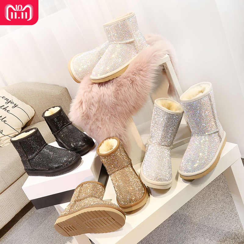 RUIYEE ladies boots snow boots fashion leather slide shoes 2018 winter new women's boots snow boots цена