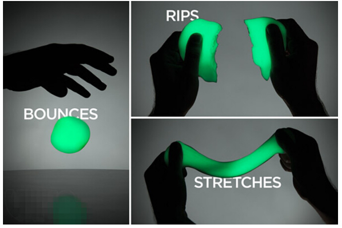 1pcs New Education Luminous Shining Bright In Night Dark Bouncing Silly Putty Handgum Toy with Box