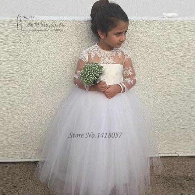 fiesta bodas para larga niños manga vestidos encaje vestido blancos