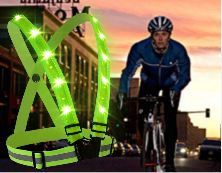 USB Recharge Elastic Straps Reflective Vest Cycling Jerseys Running LED Reflective Safety Warning Clothing