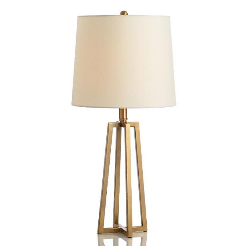 Современная Настольная Лампа Металлическая Ткань Прикроватная Лампа Спальня Гостиная Настольные