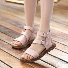 Сандалії для дівчат-гладіаторів дитячі сандалії Рим 2018 літо новий стиль взуття біла плоска з взуттям дівчата відкритого пальця розміром 27-37
