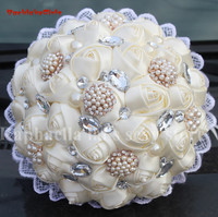 New Arrival New Bó Hoa Cưới Ngà Silk Rose Wedding Bouquet Nhân Tạo Hoa Pha Lê Ngọc Trai Brooch Bridal Bouquet