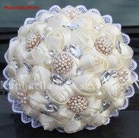 New Arrival Nowy Ślubne Bukiety Ślubne Ivory Silk Rose Bukiet Sztuczny Kwiat Kryształ Perła Broszka Bukiet Ślubny