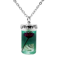 Houbian Retro Cylindrical Resin Necklace Natural Dry Flower Epoxy Necklace Jewelry(China)