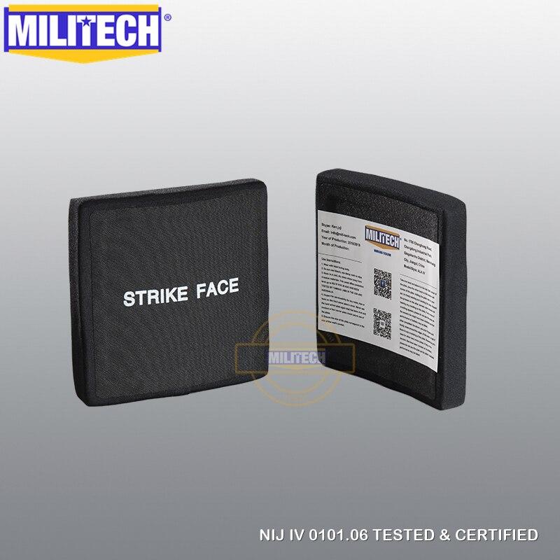 MILITECH 6 by 6 inches Two Pieces NIJ IV Bulletproof Side Plates Aluminum Oxide PE NIJ