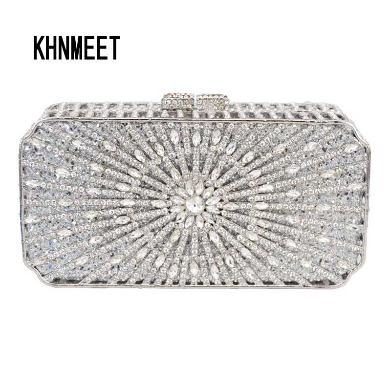 Box bling bags party purse bags women Luxury crystal evening bags Female pochette diamond ladies wedding clutch bags SC129 portable 18w led uv light phototherapy lamp quick nail gel dryer light pink 2 round pin plug