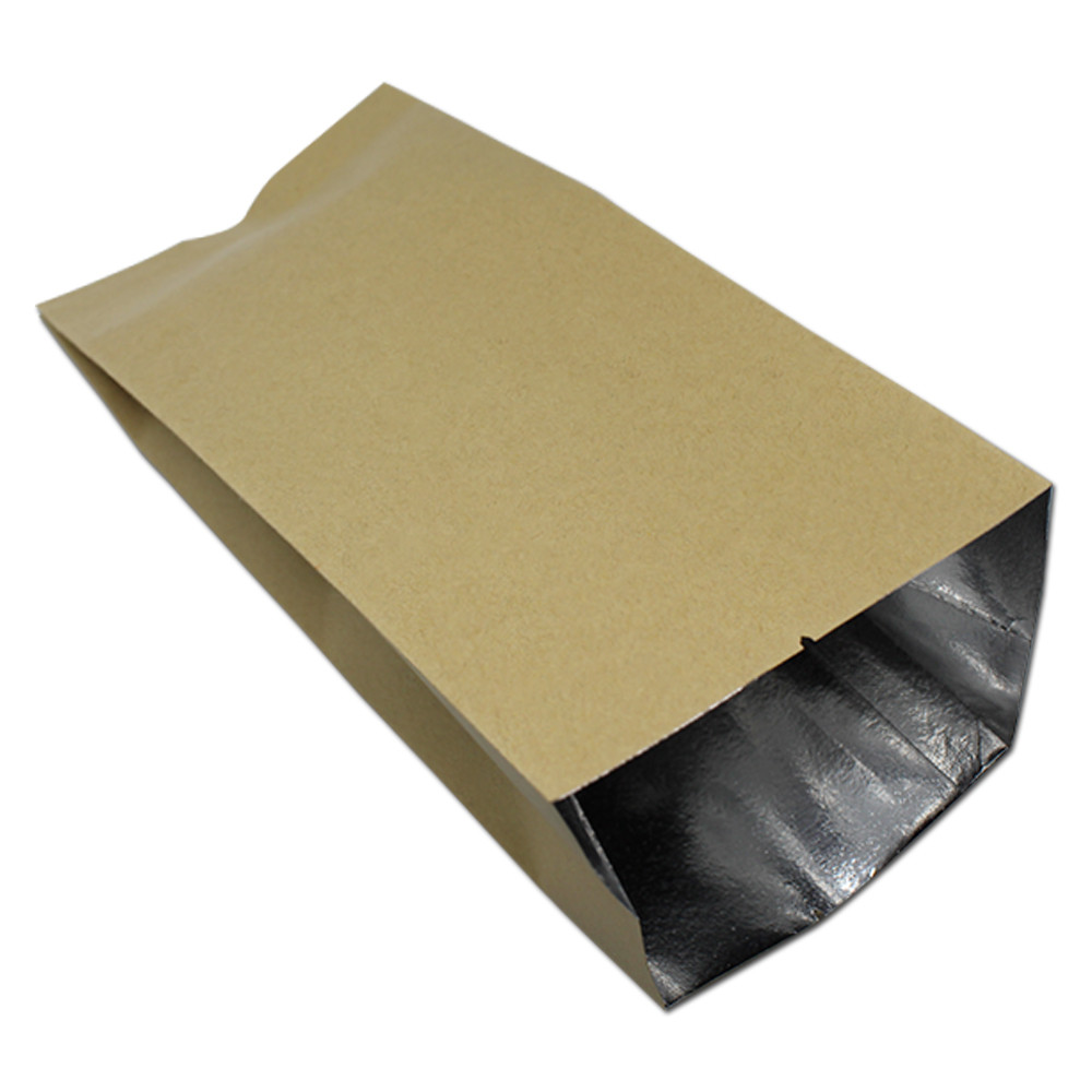 Wholesale Brown Open Top Heat Sealable Kraft Paper Aluminum Foil Package Bag For Coffee Powder Snack Nut Tea Storage Packing Bag