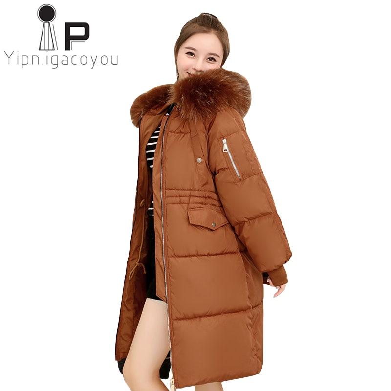 Autumn Winter   Down     Coat   Women Ladies Fashion Fur Hoodie Long   Down   jacket Cotton Thick Parkas Female Overcoat Warm Clothing   Coat