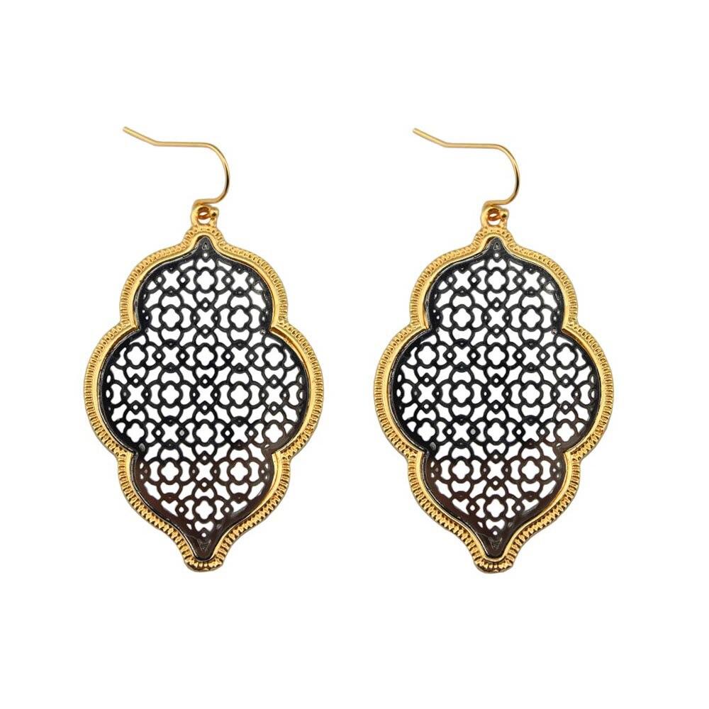 Two Tone Perak Filigree Maroko Earrings untuk Wanita 2018 Hot - Perhiasan fashion - Foto 4