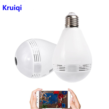 Kruiqi Home Security 360 Degree IP Camera 1080P 2MP Fisheye Panoramic Camera Led Light Bulbs 3D VR Wifi Wireless ip camera 360 degree panoramic ip camera fisheye wifi cctv cam ptz 3d vr video p2p 720p audio for home ofiice security remotely mon