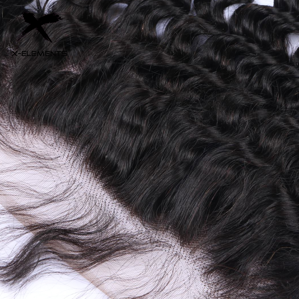 X-Elements Brazilian Deep Wave Frontal 100% Human Hair 13x4 Lace Frontal Deep Wave Non-Remy Natural Color Hand Tied Lace Frontal (6)
