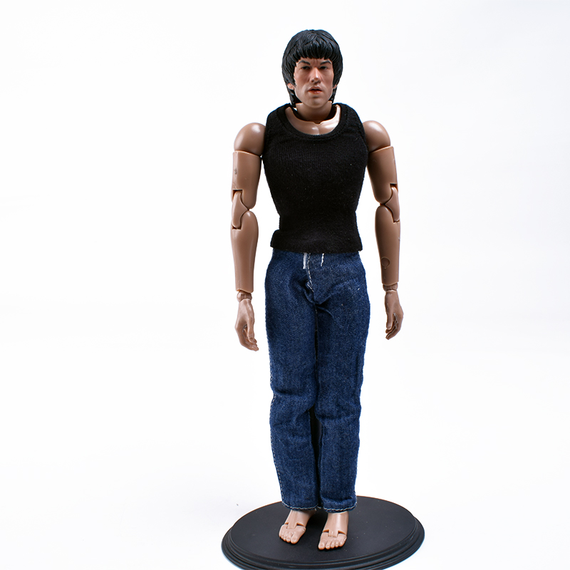 1/6 Scale Sculpt Testa Asiatico Kung fu Bruce Lee+Narrow Shoulder Male Body B001+Washing Effect Jeans+1/6 MCF008 Black Vest Set 1 6 scale male clothes suit the game of death bruce lee head sculpt