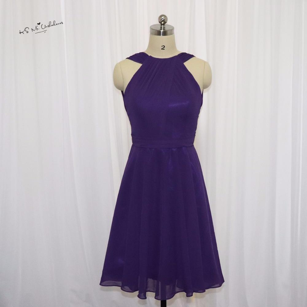 Modest purple bridesmaid dresses short wedding party dress for Dresses for girls for wedding