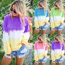 Women  Casual Long Sleeve Top O-Neck Gradient Contrast Color Pullover Sweatshir
