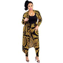 2019 New African Print Elastic Bazin Baggy Pants Rock Style Dashiki SLeeve Famous Suit For Lady/women coat and leggings 2pcs/se(China)
