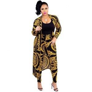 Image 1 - Costume pour femmes, pantalon Baggy imprimé africain, Style Rock, manches Dashiki, costume célèbre, manteau et leggings, 2 pièces/se, nouvelle collection 2019