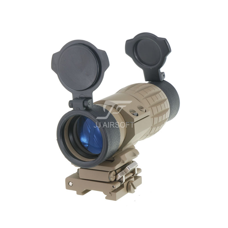 JJ Airsoft 4X FXD Magnifier with Adjustable QD Mount (Tan) jj airsoft t1 t 1 red dot 45 degree offset mount qd mount and low mount tan
