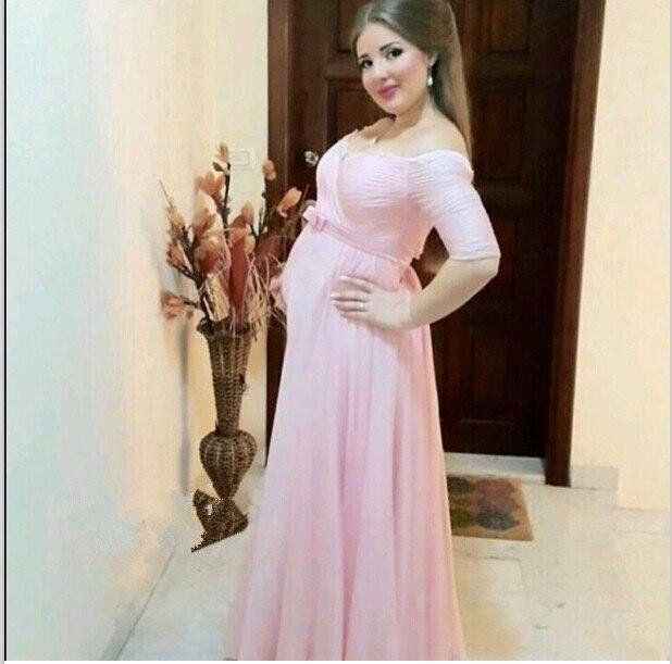 Simple Light Pink Half Sleeve Sweetheart Neckline Pregnant Prom ...