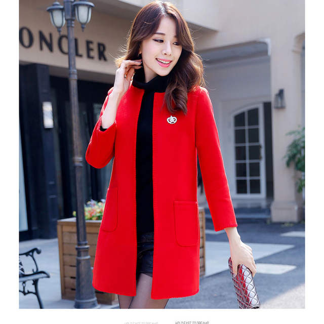 bf13fa5d762 Autumn Winter New Women Wool Blends Coat Korean Version Solid Color  Mid-long Section Round