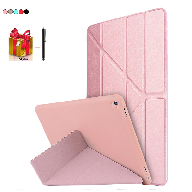 Case Table For iPad Pro 2016 9.7 Luxury Ultra Thin Tablet Case Flip Silicone Transformer Cover For iPad Pro 2016 Stand Capa+Pen