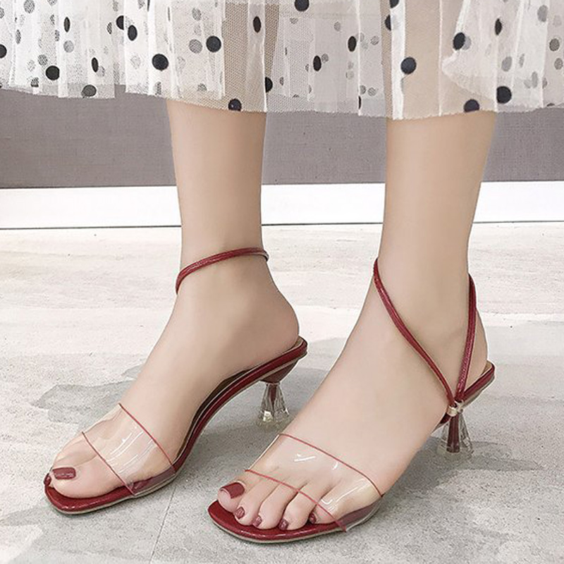 Летние Босоножки на каблуке, женская обувь, модные туфли на низком каблуке, красные, белые, черные модельные свадебные туфли, женские слипон...