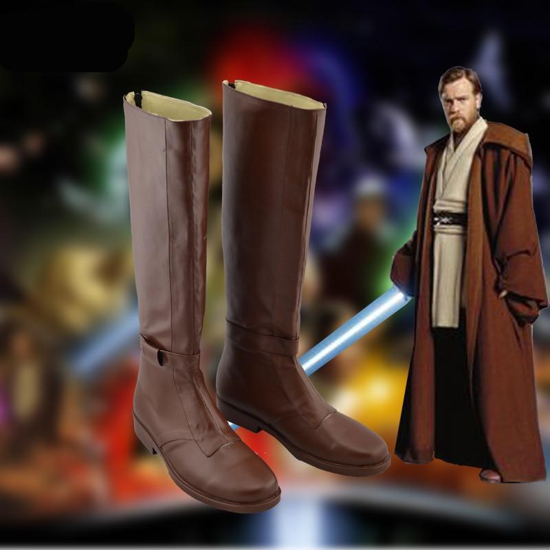 1:1 Star Wars Obi-Wan  Kenobi Cosplay shoes Obi Wan Role Play brown Long Boots costumes large size