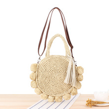 Handmade Vintage Rattan Woven Hand bag with tassel Shoulder Bags straw Beach bag for Holiday Women summer beach tote small M522 недорого