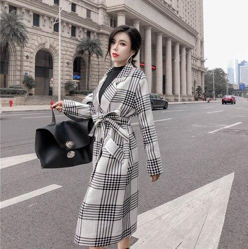 Tranchée noir Femmes Dame De Plaid Coupe Casaco vent Pour Feminino Nouveau Outwear Style Bureau Beige Manteau Femelle xIwqYvWa