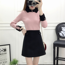 new winter cloth skirt korean fashion suits skirts two-piece outfit women pullover sweater long sleeve girl vestidos SML
