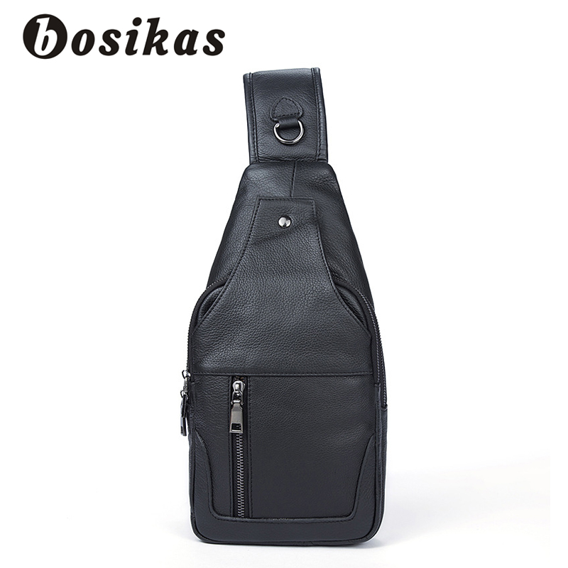 BOSIKAS Genuine Leather Men Bag Men Messenger Bags Small Waist Pack Leather Shoulder Crossbody Bags Brand Belt Pillow Chest Bag joyir genuine leather chest bag for men crossbody chest pack solid flap leather bags mens shoulder bags small messenger bag new