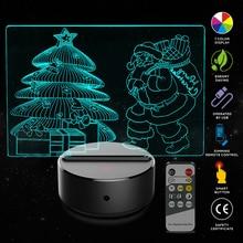 New Santa Claus Christmas Tree  3D LED USB Lamp Romantic Decorative Colorful Night Light Girlfriend Mothers Gift