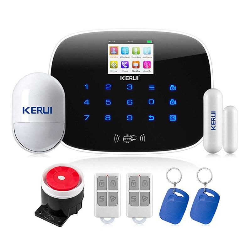 KERUI Android IOS APP 433 MHz TFT couleur écran UI menu système d'alarme GSM carte SIM appel téléphonique sms alarme porte de sécurité ouverte rappeler