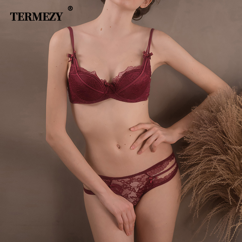 TERMEZY 2019 New Women's underwear Set Sexy Push-up Bra And Panty Sets Bow Comfortable Brassiere Young Bra Adjustable Lingerie