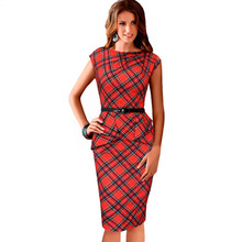 Womens Vintage Elegant Belted Tartan Red Plaid Pencil Dress Ruched Tunic Work Party Sleeveless Bodycon Sheath