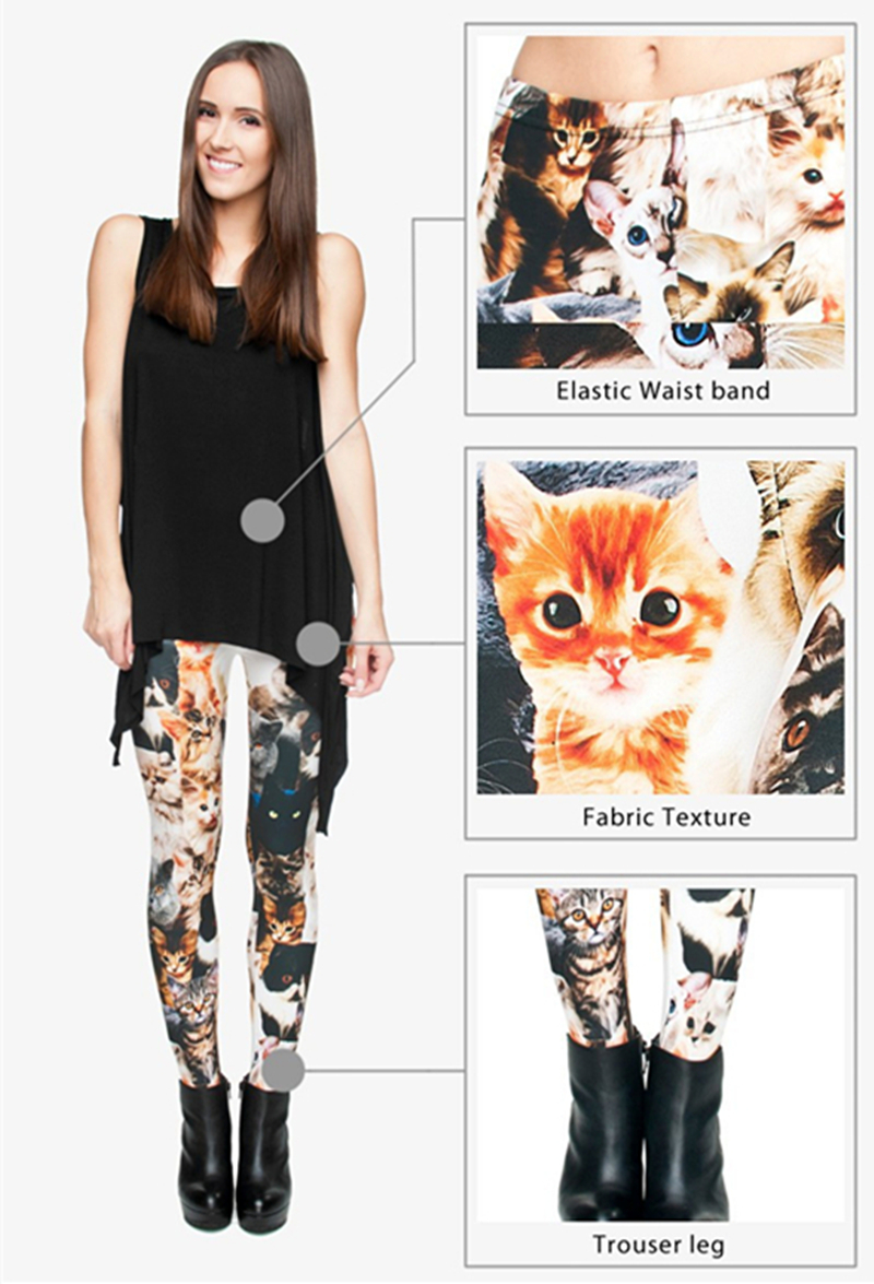 Girls Cat Print Leggings