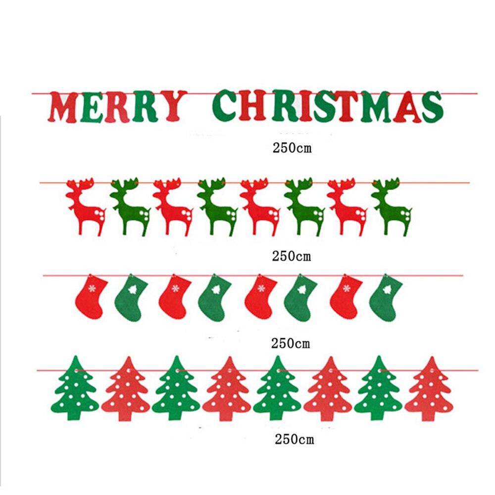 PMYUMAO 2.5M Merry Christmas Bunting Flag XMAS Tree Socks Elk ...