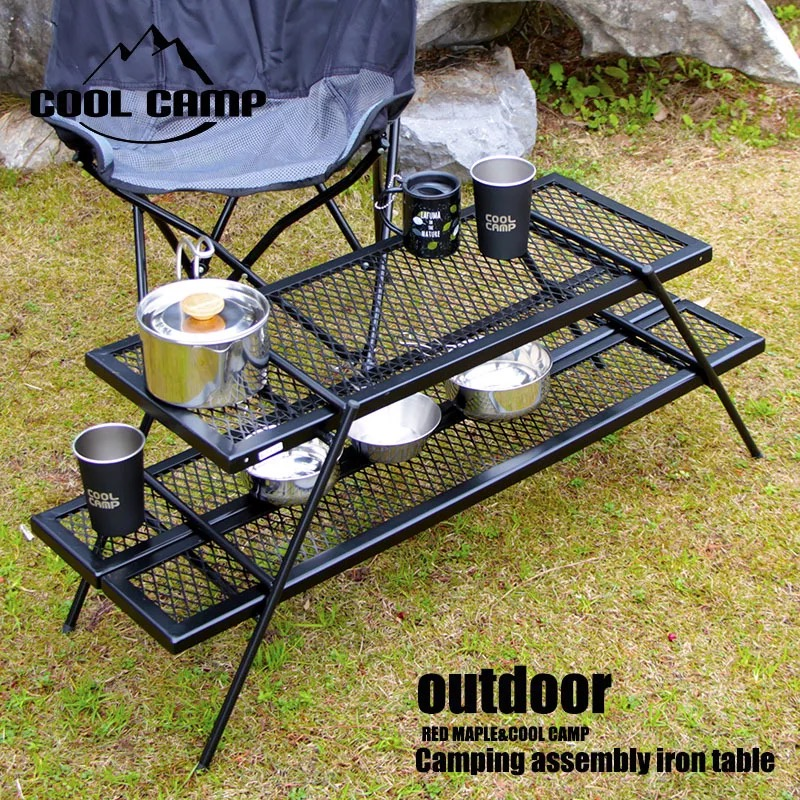 Outdoor Camping Portable Barbecue Table Multi-function Combination Picnic Table Net Table Shelf Flower Stand Folding Low Table