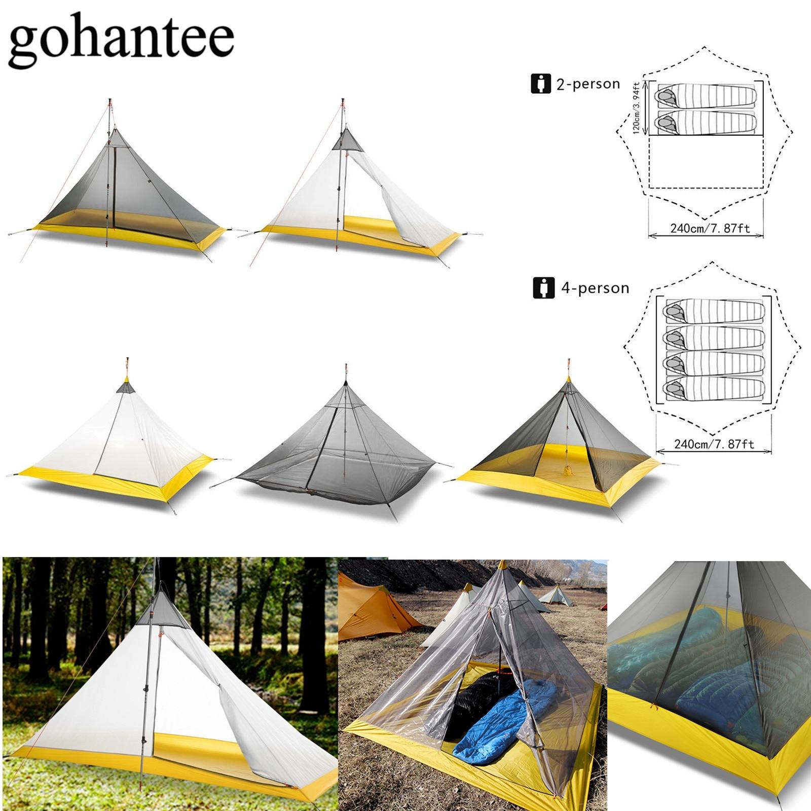 Ultralekki namiot kempingowy 2-4 osoby na zewnątrz 40D Nylon powlekany silikonem piramida sztoku duży namiot oddychający 3-4 sezonowy namiot wewnętrzny