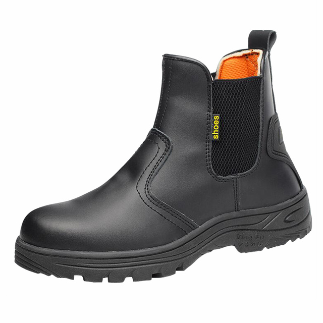 men's casual big size steel toe covers working safety shoes cow leather tooling security ankle chelsea boots spring autumn boot