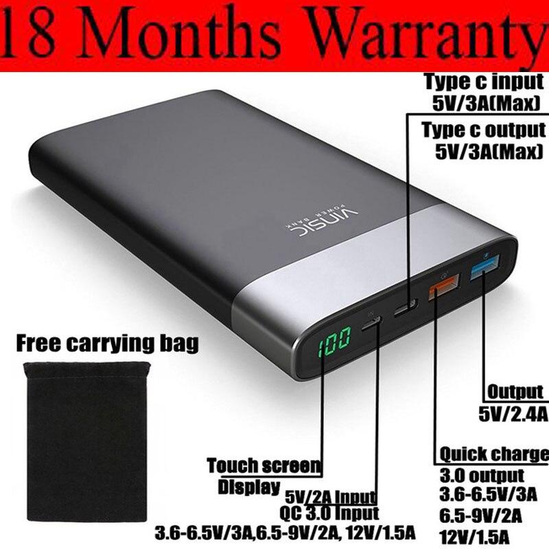 Vinsic Charge rapide 3.0 batterie externe 20000 mah QC3.0 Type C 3A pour Xiaomi Mi6 Mix Samsung Galaxy S8 Note9 Nexus 5X6 P LG chargeur
