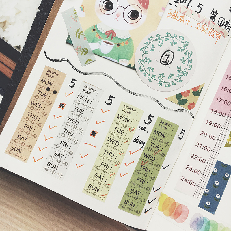 weekly plan washi tape Timeline masking tape DIY washi material escolar washitape school supplies bant fita adesiva plan
