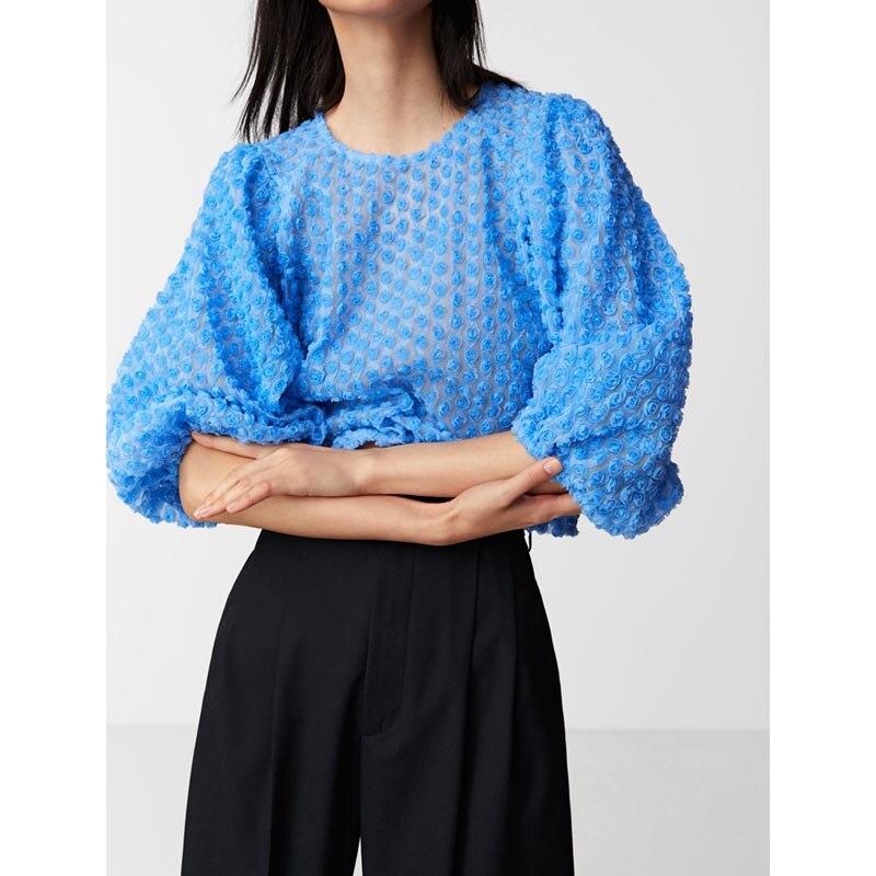 TX814 Euro Design Blue Color 3D Floral Transparent Mesh T Shirt Women Summer Half Sleeve Short Pullovers T-shirts
